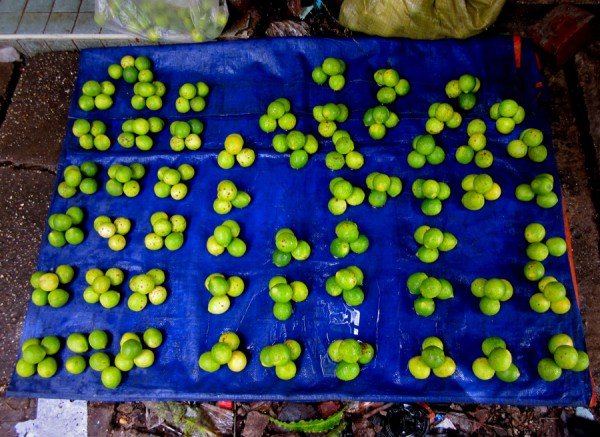 Kaffir limes for sale on streets of Yangon, Myanmar
