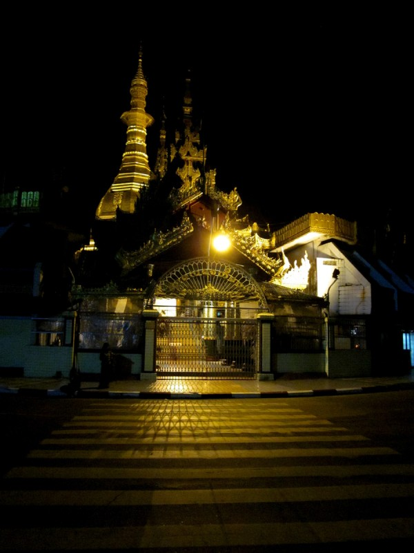 Sule Pagoda at night in Yangon, Myanmar