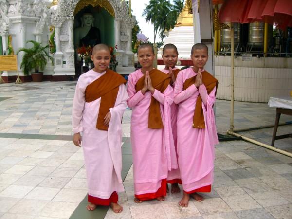 Burmese girls at Shwedagon Pagoda, Yangon, Myanmar