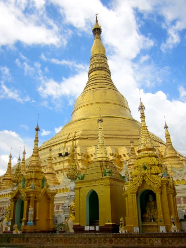 Shwedagon Pagoda in sunlight, Yangon, Myanmar