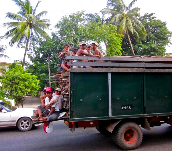 Truck of friendly Burmese in Yangon, Myanmar
