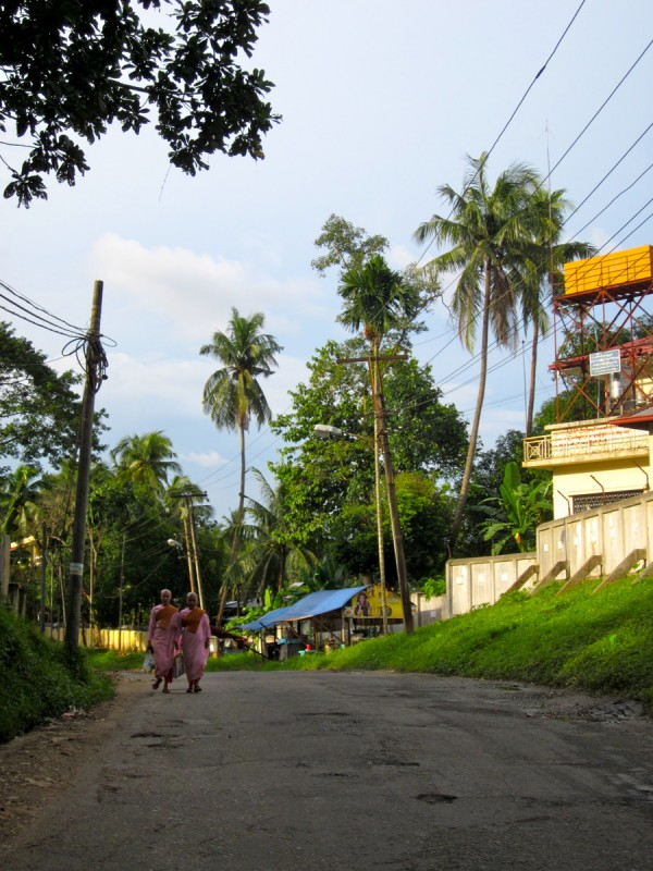 Burmese nuns walking in a quiet neighborhood of Yangon, Myanmar