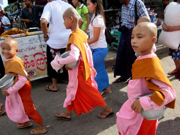 Burmese girls on the streets of Yangon, Myanmar