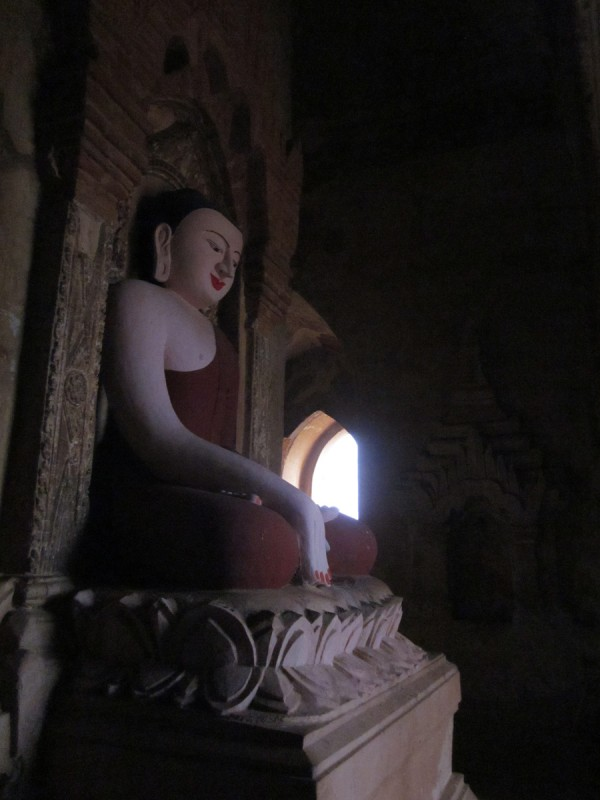 Buddha in a Bagan Pagoda at sunrise, Myanmar