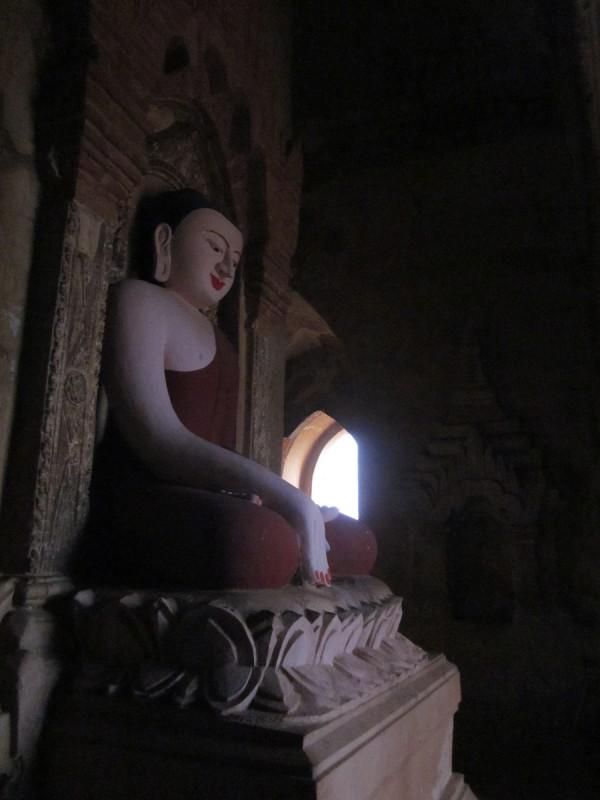 Buddha in a Bagan Pagoda at sunrise, Myanmar
