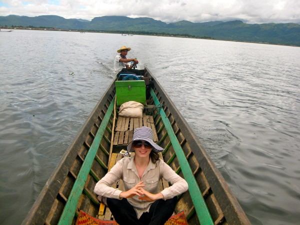 Bridget on Inle Lake, Myanmar