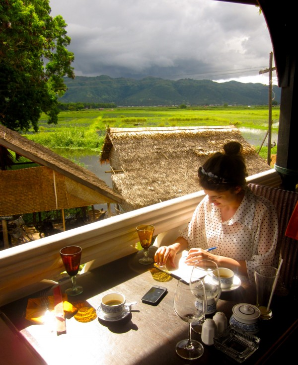 Meghan writing, Inle Lake, Myanmar