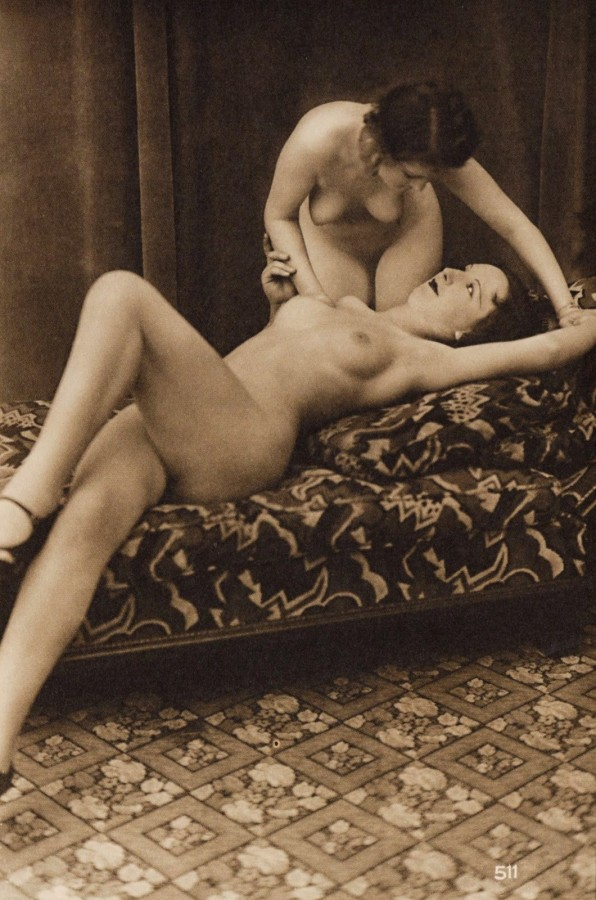 two girls french postcard 1937