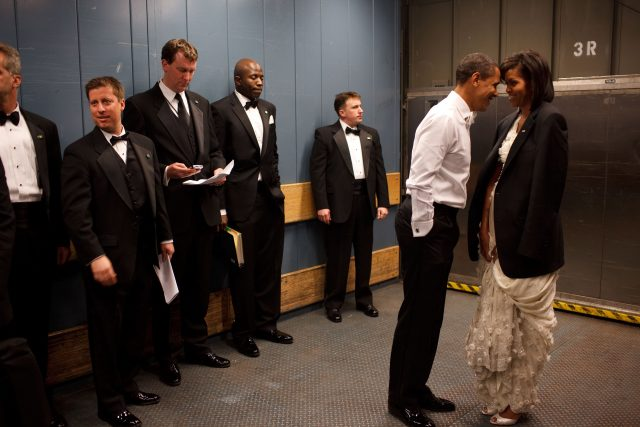 WASHINGTON - JANUARY 20: In this handout from the White House, U.S. President Barack Obama and first lady Michelle Obama together in a freight elevator at an Inaugural Ball, January 20, 2009 in Washington, DC. (Photo by Pete Souza/White House via Getty Images)